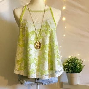 New Chesea&Violet Lime Green Swing Lace Top